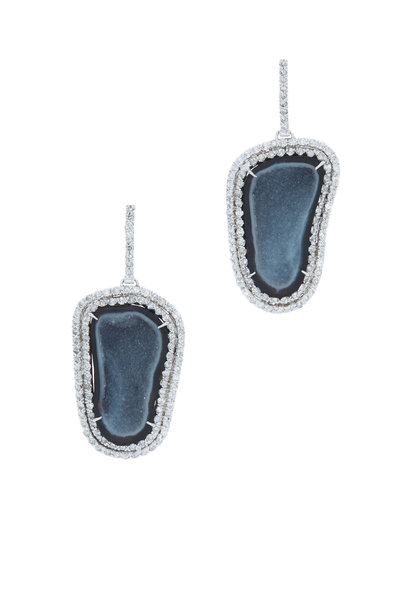 Kimberly McDonald - White Gold Blue Geode Diamond Drop Earrings
