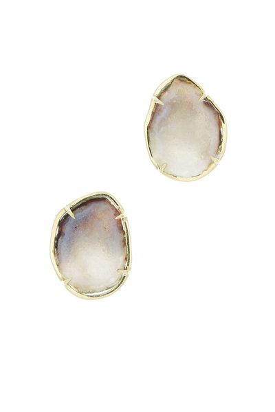 Kimberly McDonald - Yellow Gold Light Geode Stud Earrings