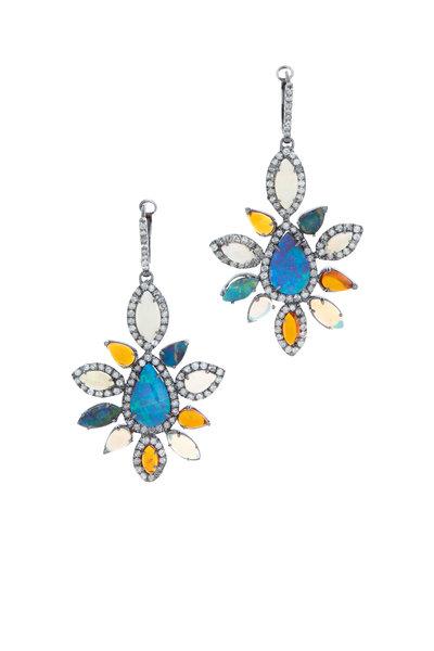 Kimberly McDonald - Gold Boulder, Fire & Light Opal & Diamond Earrings