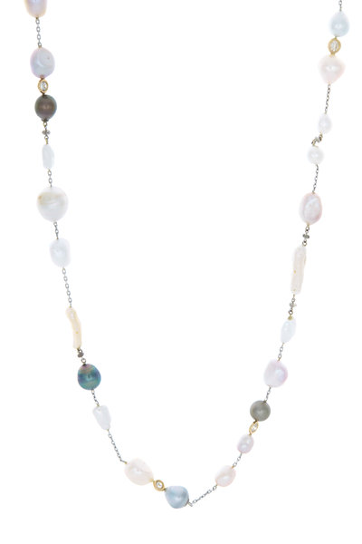 Kimberly McDonald - White Gold Multi Pearl & Diamond Necklace