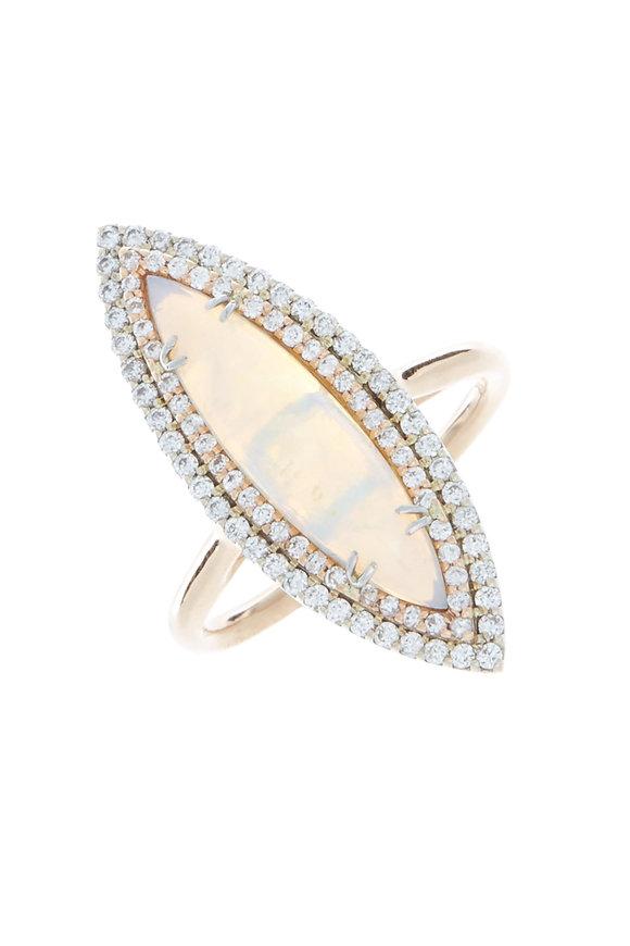 Kimberly McDonald Rose Gold Crystal Opal & Diamond Cocktail Ring
