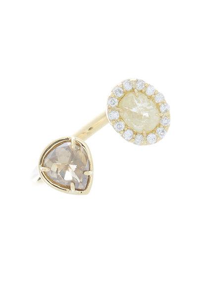 Kimberly McDonald - Yellow Gold White Diamond Finger Cuff Ring
