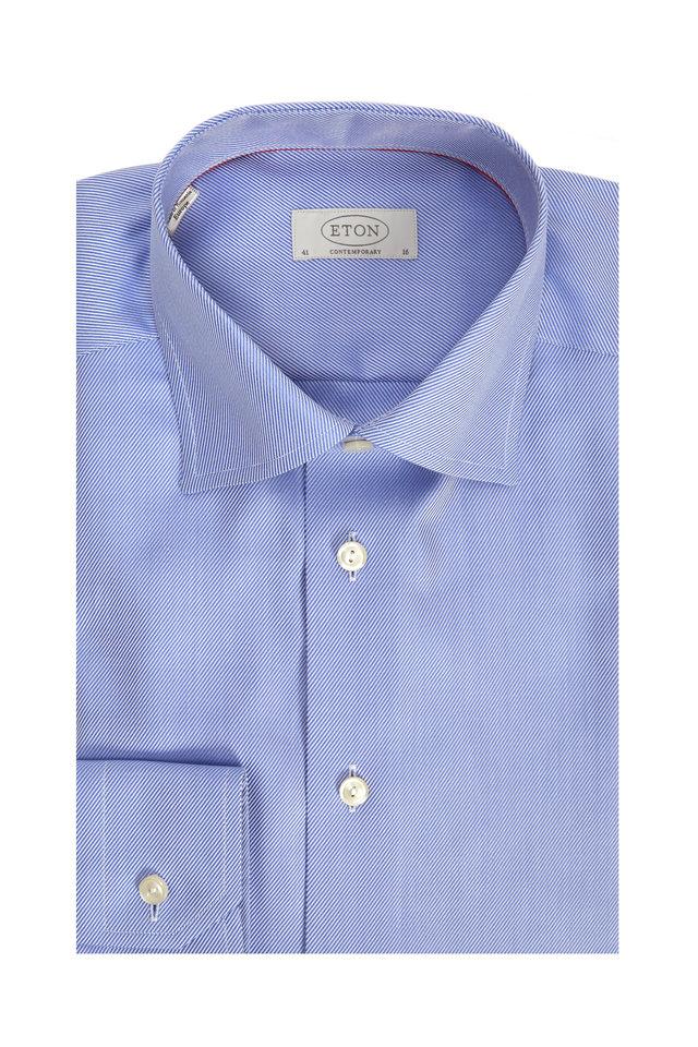 Blue Twill Contemporary Dress Shirt
