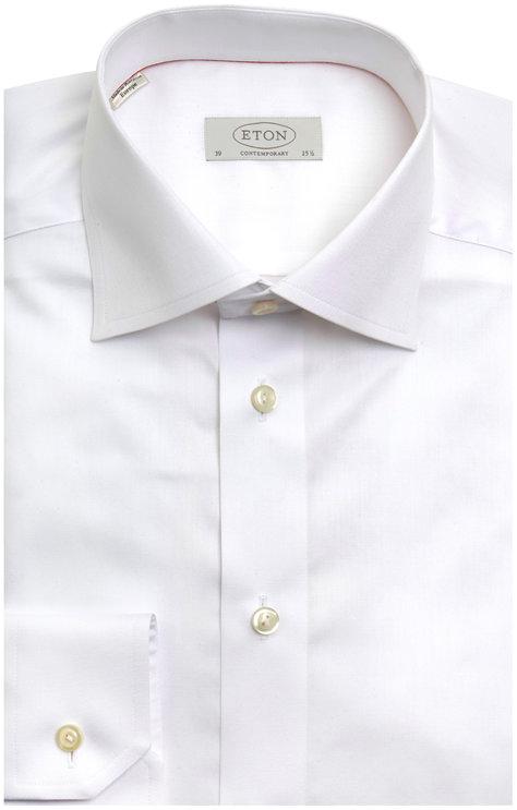 Eton White Twill Contemporary Dress Shirt