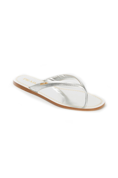 Prada - Metallic Silver Patent Leather Thong Sandals