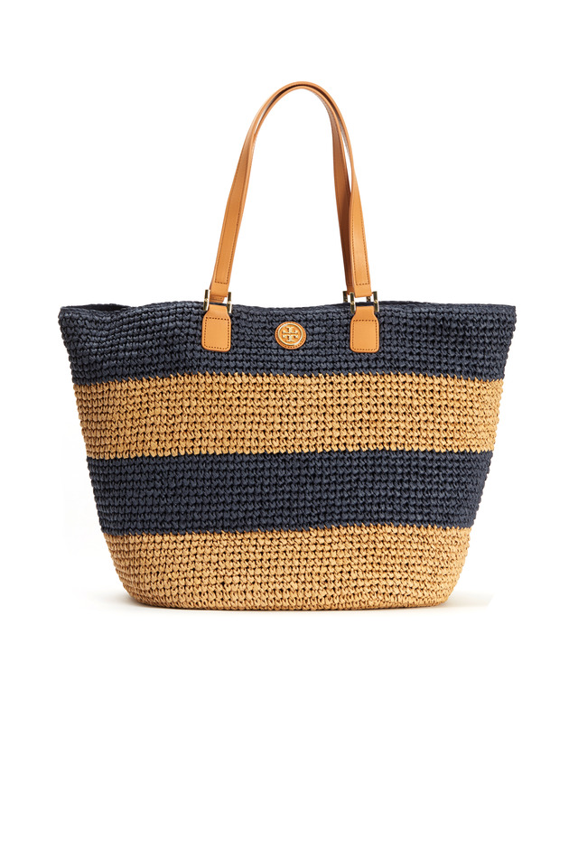 Navy Blue Raffia Striped Tote