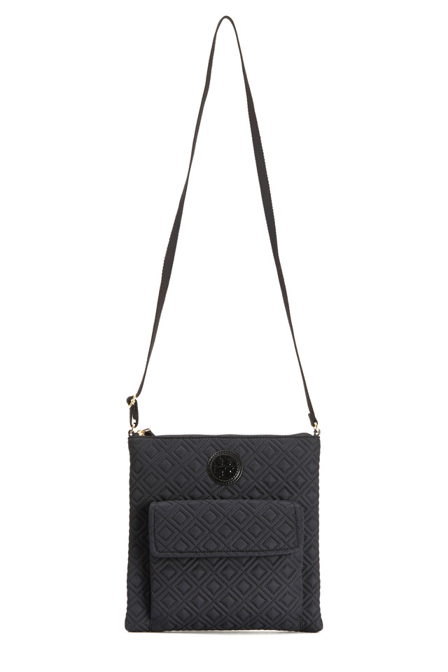 Black Nylon Quilted North South Crossbody Bag