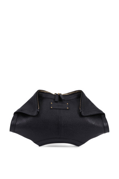 Alexander McQueen - De Manta Black Leather Fold-Over Large Clutch