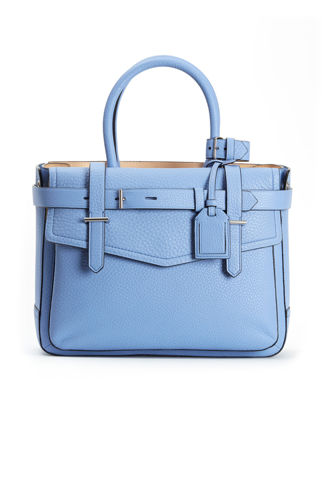 Boxer Corsica Blue Pebbled Leather Tote