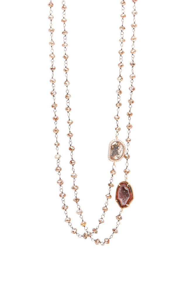Rose Gold Diamond Double Strand Necklace