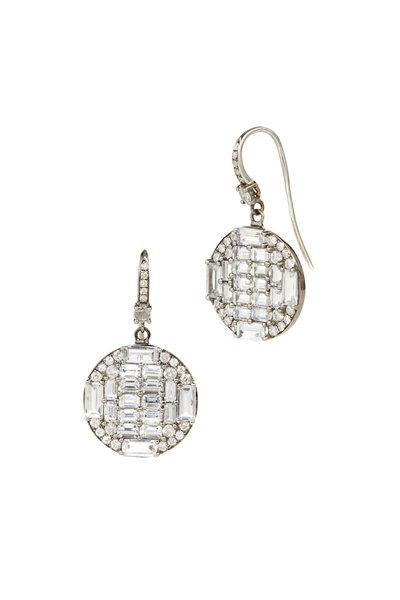 Nam Cho - White Gold White & Sapphire Diamond Drop Earrings