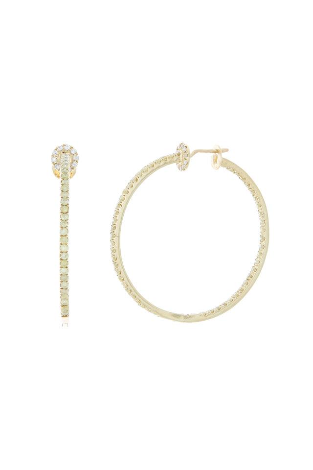 Yellow Gold Yellow & White Diamond Hoop Earrings