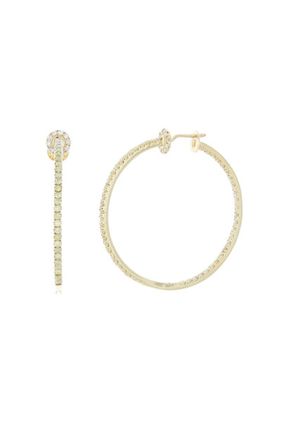 Nam Cho - Yellow Gold Yellow & White Diamond Hoop Earrings