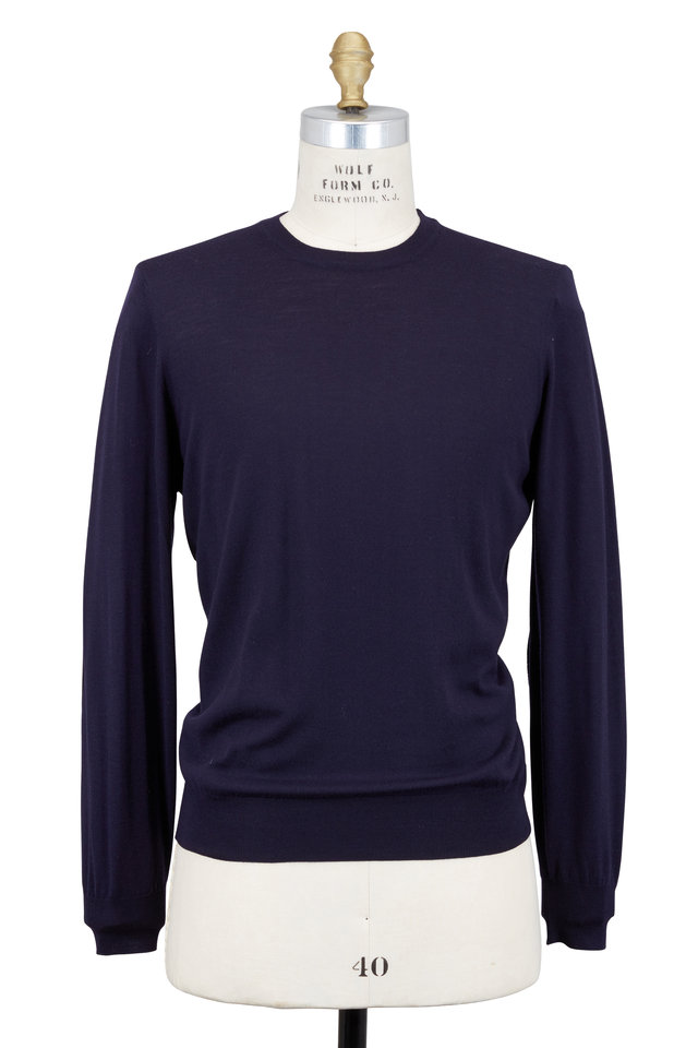 Navy Blue Wool & Cashmere Sweater