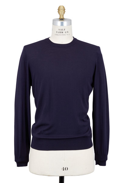 Brunello Cucinelli - Navy Blue Wool & Cashmere Sweater