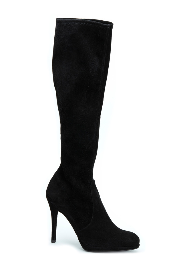 Black Suede Stretch Platform Tall Boots