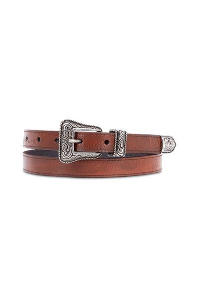 Saint Laurent - Brown Leather & Vintage Nickel Western Belt