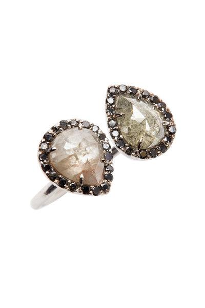 Kimberly McDonald - White Gold Black & White Diamond Finger Cuff Ring