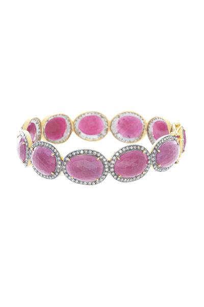 Loren Jewels - Gold & Silver Oval Ruby Diamond Bangle Bracelet