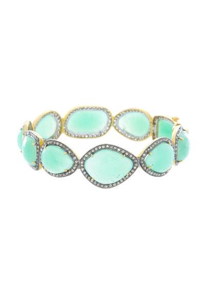 Loren Jewels - Gold & Silver Chrysoprase Diamond Bangle Bracelet