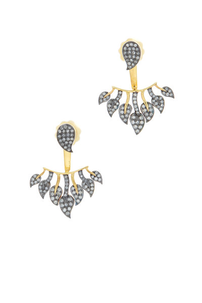 Loren Jewels - Gold Pavé Champagne Diamond Stud Jacket Earrings