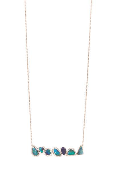 Kimberly McDonald - Rose Gold Boulder Opal Diamond Bar Necklace