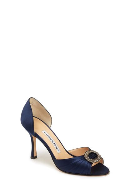 Manolo Blahnik - Sedaraby Navy Blue Satin D'Orsay Pump, 90mm