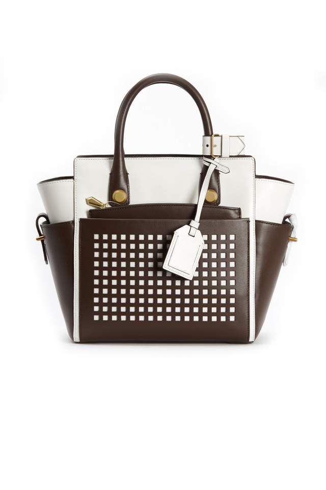 Atlantique Bark & White Leather Mini Tote
