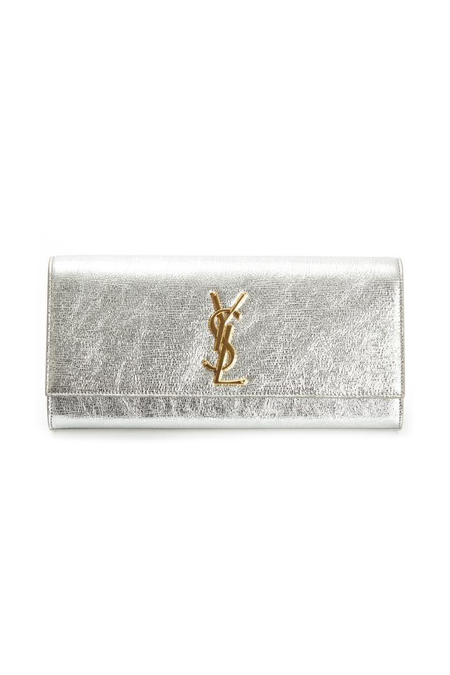 Cassandre Metallic Silver Micro Twill Clutch