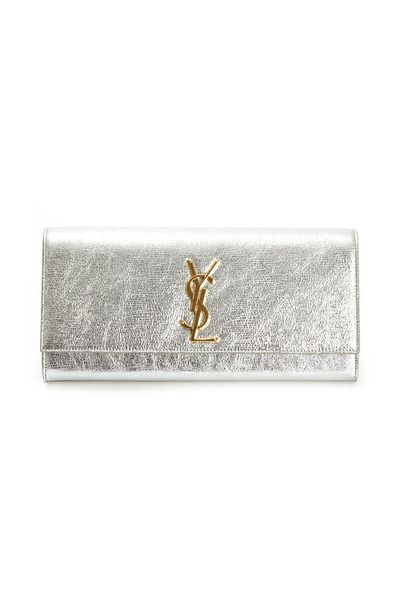 Saint Laurent - Cassandre Metallic Silver Micro Twill Clutch