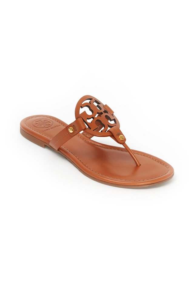 Miller Tan Leather Logo Thong Sandals