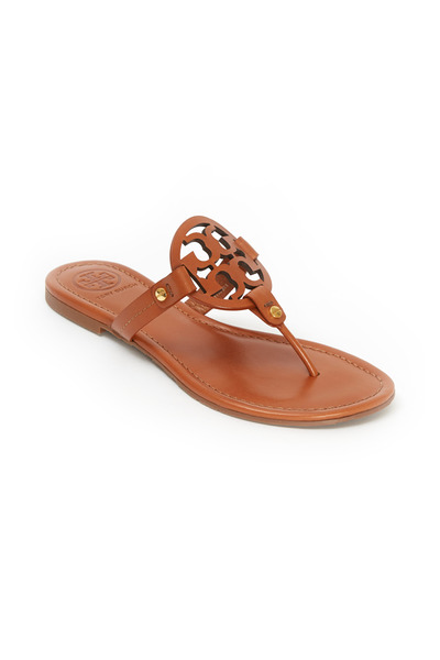 Tory Burch - Miller Tan Leather Logo Thong Sandals