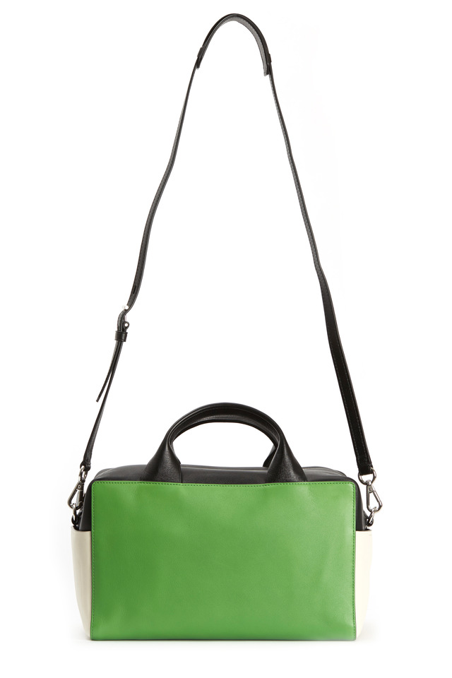 Track Green Milled Leather Small Satchel