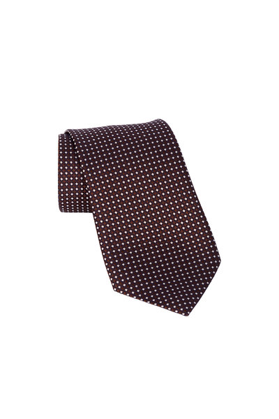 Ermenegildo Zegna - Dark Brown Geometric Silk Necktie