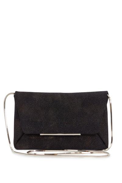 Lanvin - Mai Tai Black Metallic Leather Envelope Clutch