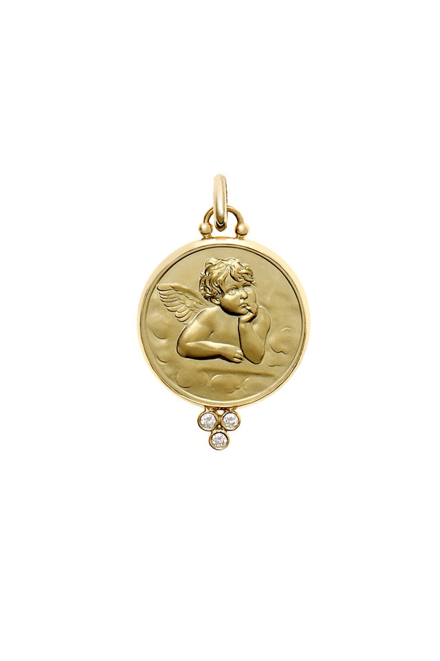 18K Yellow Gold Diamond Angel Pendant