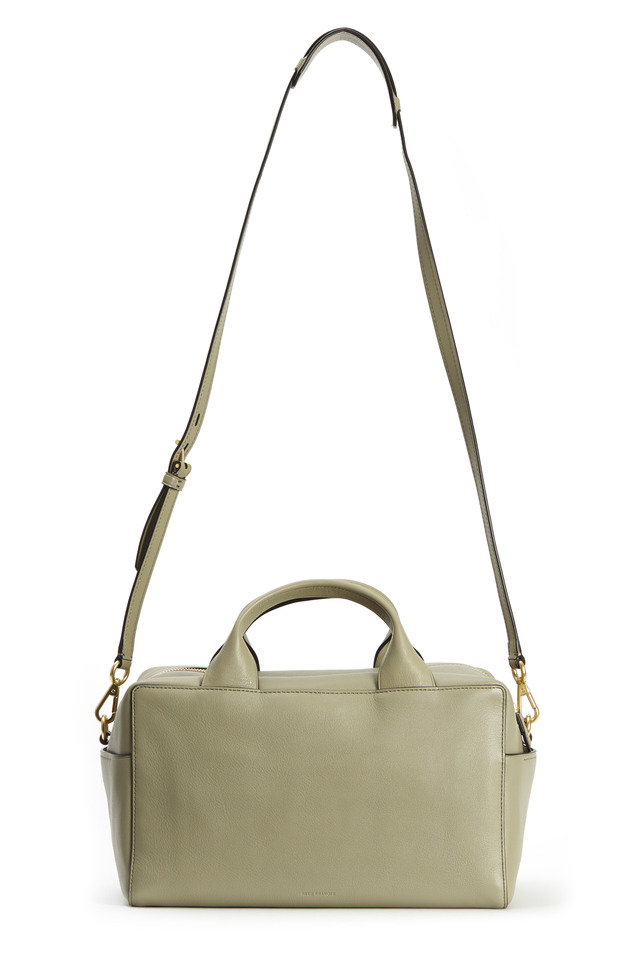 Grey Leather Milled Track Satchel