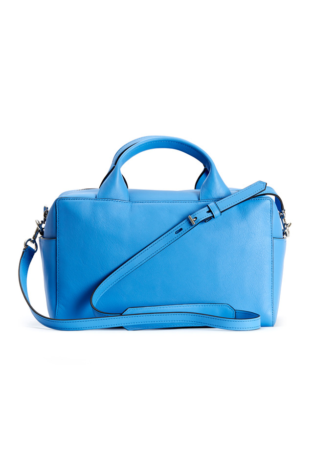 Track Sky Blue Leather Satchel