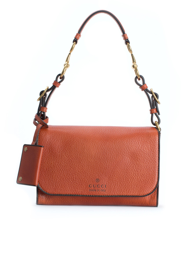 Harness Orange Leather Shoulder Bag