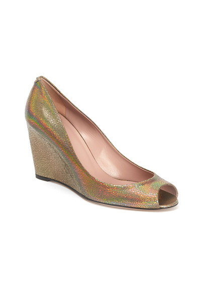 Gucci - Charlene Iridescent Metallic Peep Toe Wedges