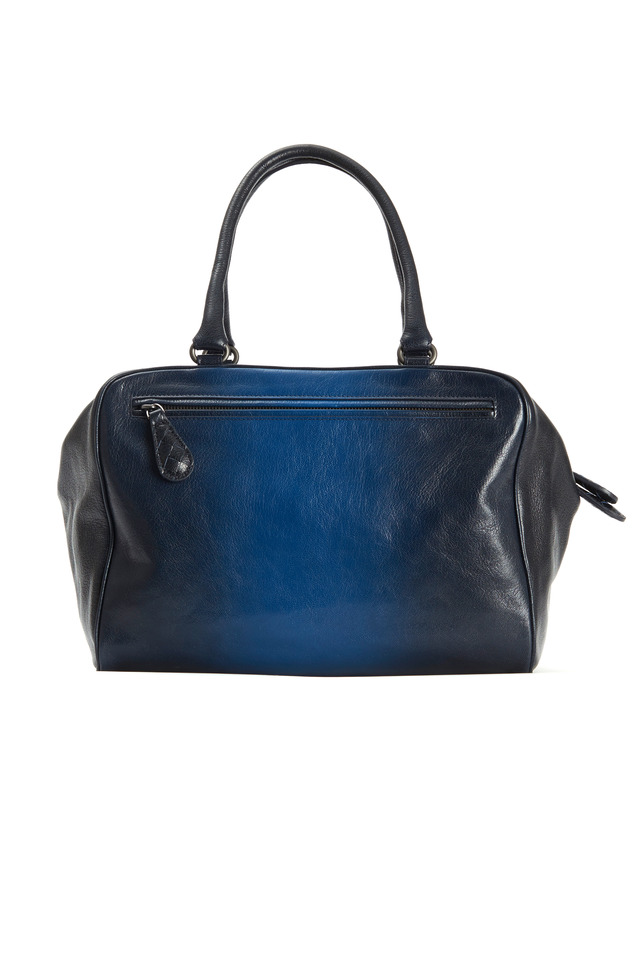 Brera Blue Ombre Leather Zip Satchel