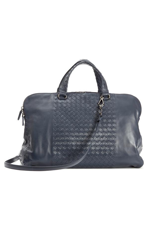 Leggero Dark Blue Intrecciato Leather Satchel