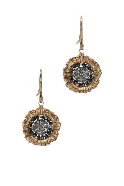Dana Kellin - Yellow Gold Black & White Diamond Earrings