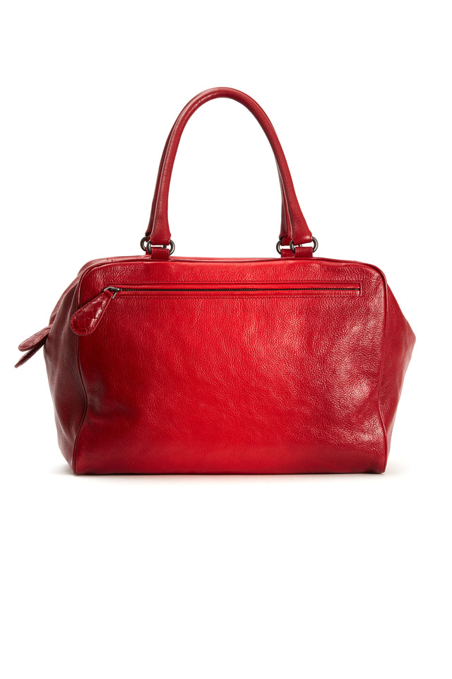 Brera Red Leather Ombre Zip Handbag