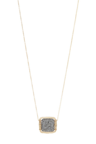 Dana Kellin - Gold & Silver Pavé Diamond Square Pendant Necklace