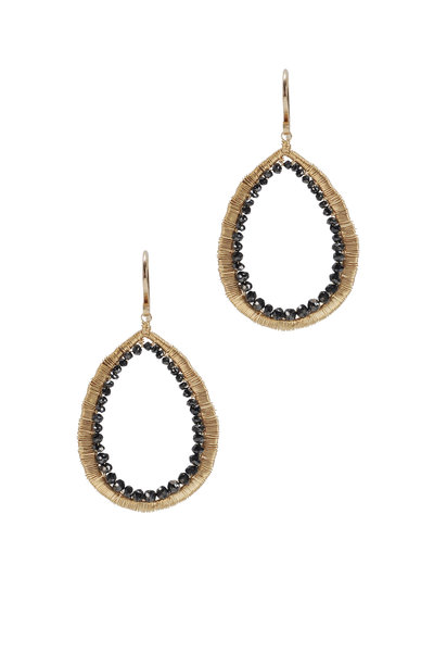 Dana Kellin - Yellow Gold Black Diamond Drop Earrings
