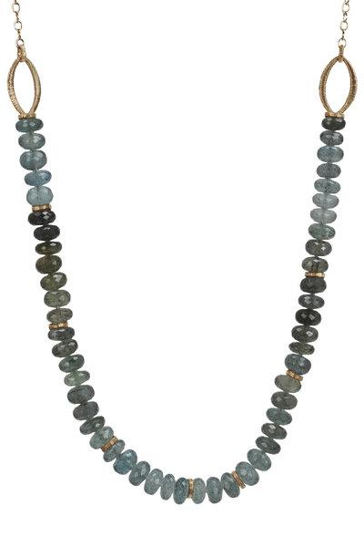 Dana Kellin - Yellow Gold Aquamarine & Moss Agate Necklace