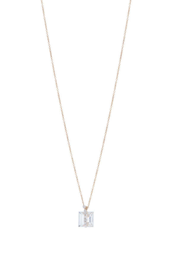 Dana Kellin Yellow Gold White Topaz Pavé Diamond Necklace
