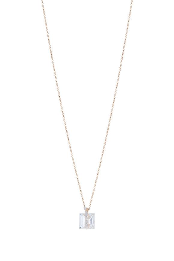 Dana Kellin Yellow Gold White Topaz Pavé Diamond Necklace