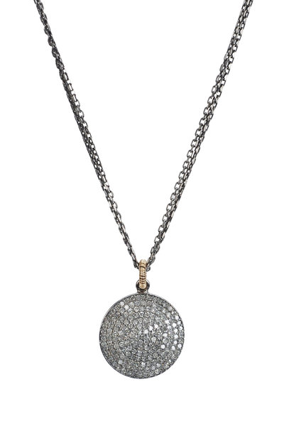 Dana Kellin - Gold & Silver Round Pavé Diamond Pendant Necklace
